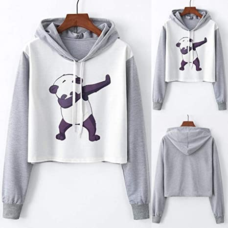 Amazon.com: Big Promotion! Teresamoon Womens Long Sleeve Panda Print Drawstring Hoodie Raglan Sweatshirt: Clothing
