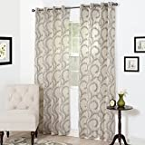 Bedford Home Andrea Embroidered Curtain Panel, 108″, Charcoal