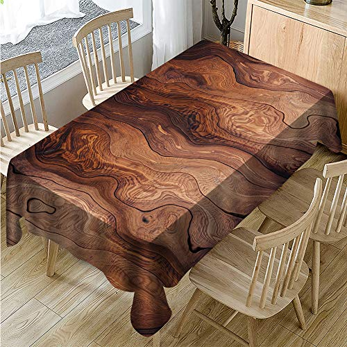 Muuyi Wood Grain Claus Tablecloth Christmas Fabric, Waterproof Spillproof Polyester Fabric Table Cover for Kitchen Dinning Tabletop Decoration, Cafe, Restaurant (Rectangle/Oblong - 60 x 84 Inches) -