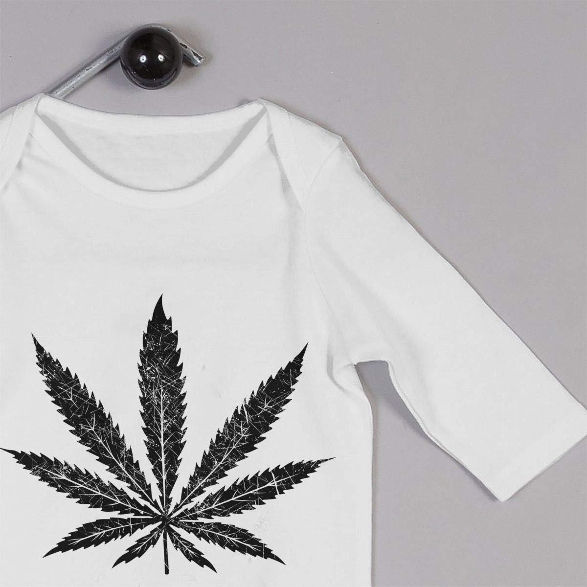 Long Sleeve Cotton Bodysuit for Baby Girls Boys Soft White Weed Leaf Crawler