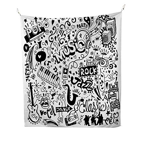 Doodle Bedroom Tapestry Music Collection with an Abstract Drawing Rock Jazz Blues Metal Classic Dancing Tapestry Throwing Blanket 51W x 60L INCHBlack White