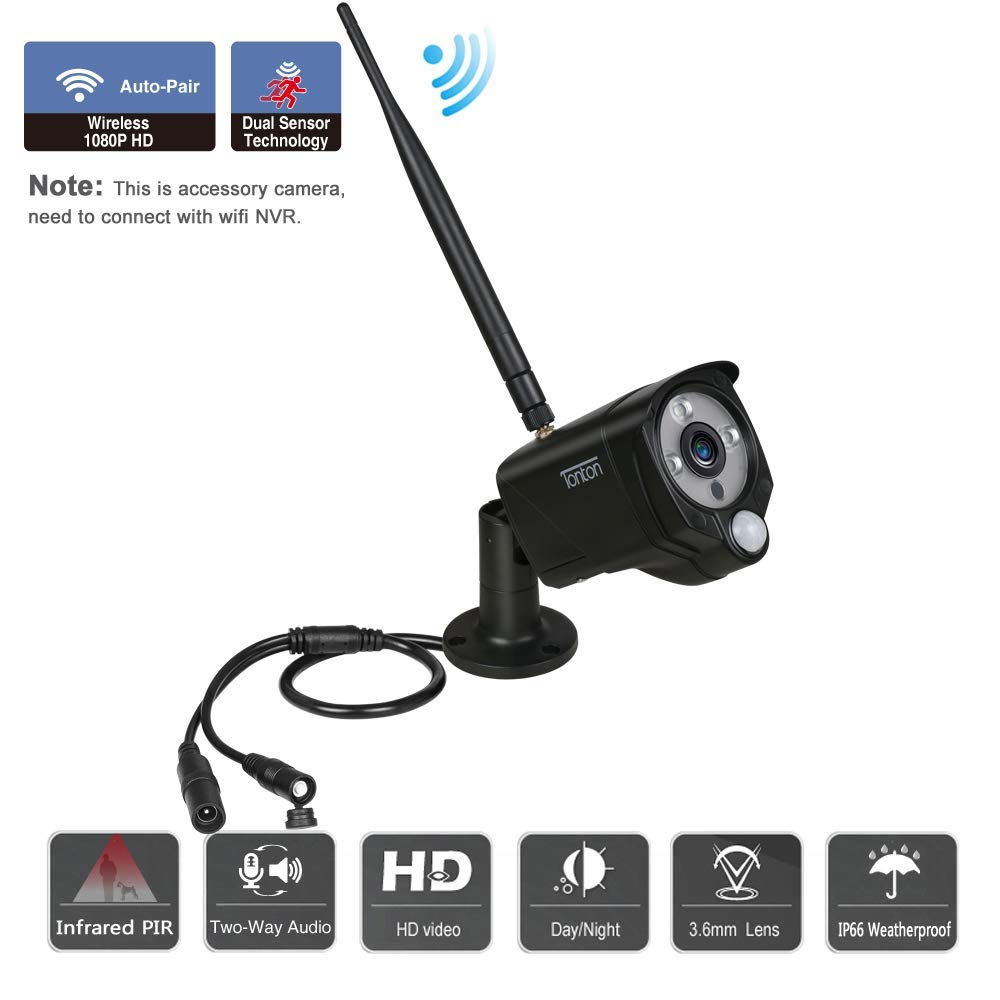 con Sensor PIR de visi/ón Nocturna por Infrarrojos y Audio, C/ámara IP inal/ámbrica Tonton 1080P 2.0MP a Prueba de Intemperie Solo para el Sistema de Monitor de Pantalla t/áctil Tonton NVR de 7 /'