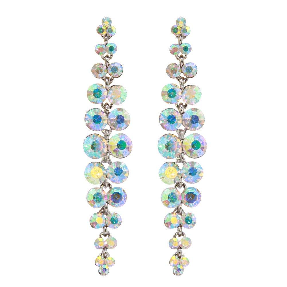 TTjewelry Silver-Tone Bride Wedding Austrian Crystal Chandelier Teardrop Dangle Earrings