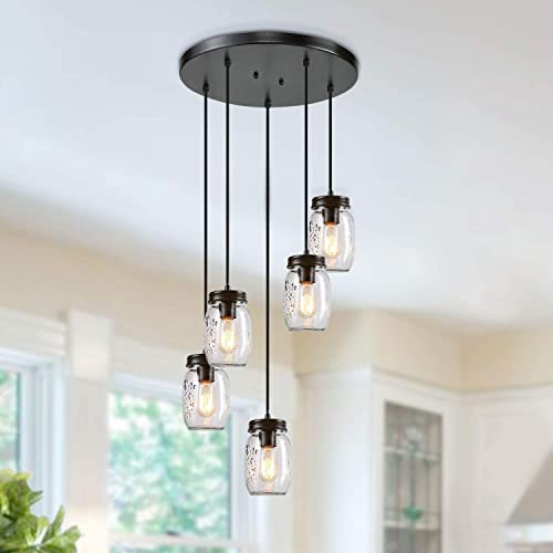 LNC Farmhouse Adjustable Mason Jar Chandelier Bronze Pendant Lights for Kitchen, Dining Room, A03224