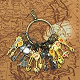 Fairy Tail,econoLED 18Pcs Fairy Tail Lucy Heart Key Chain Celestial Spirit Gate Pendant Set Keychain for Children Kids gifts