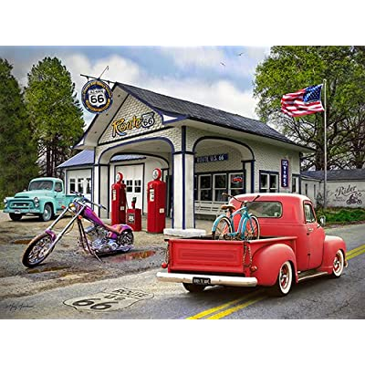 "The Jigsaw Puzzle Factory Nostalgic America Classic Route 66 Puzzle Games for Adults and Kids Ages 12 and Up, Made in The USA, 550 Piece, Full Size is 18"" X 24"": Toys & Games"