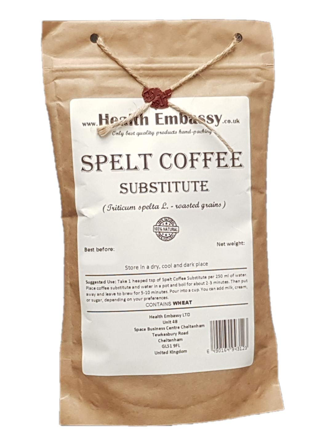 Spelt Coffee (Triticumspelta - roasted grains) - Health Embassy - 100% Natural (100g)