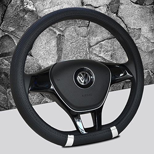 Black and White Color New D shape steering wheel cover breathable automotive car sport steering-wheel covers for VW Volkswagen Santana 2016/ Jetta 2017