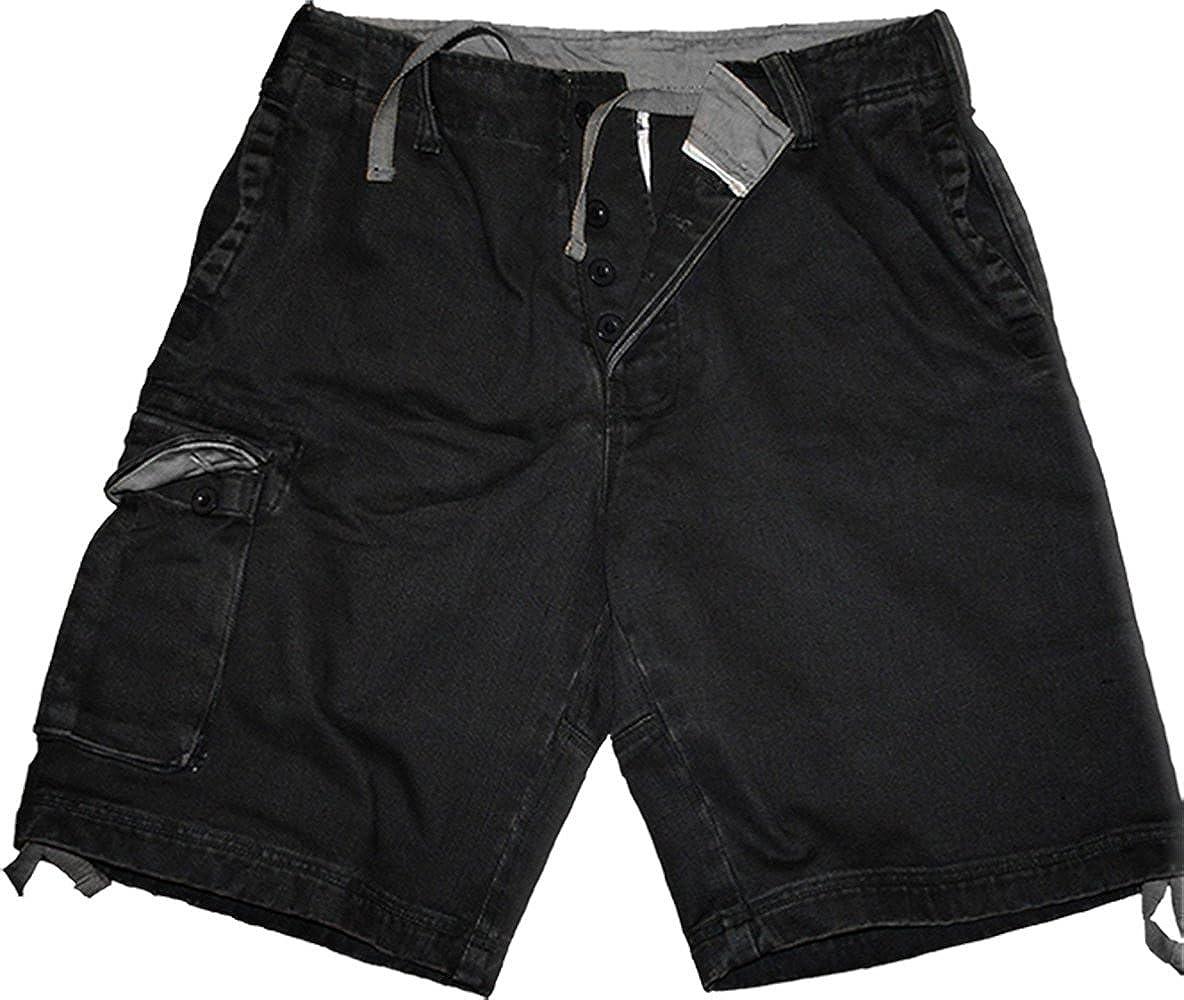 Mens Spiral Vintage Cargo Shorts Black Metal Streetwear