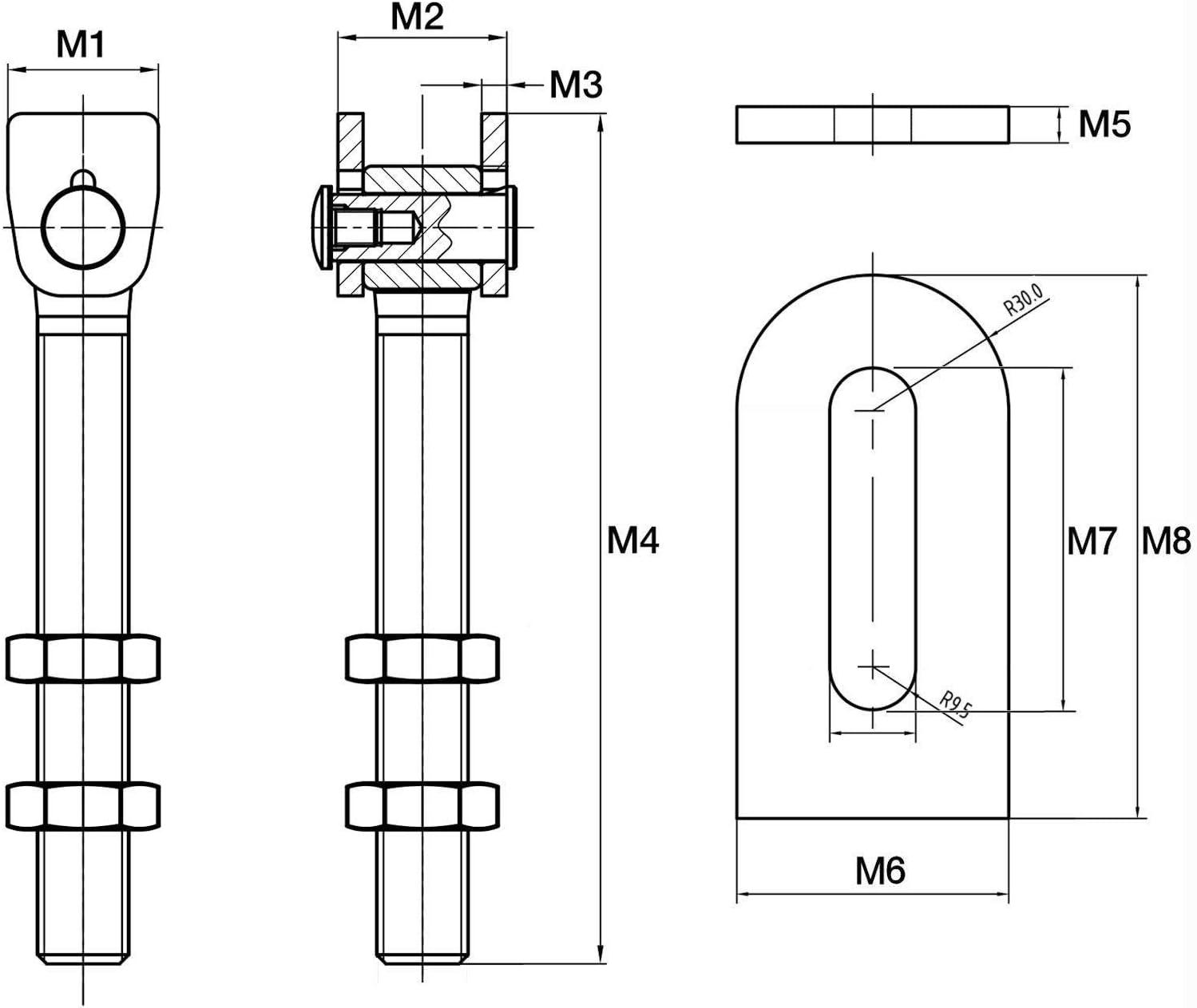 2 x Gond de Porte r/églable M16 x 185 mm avec Patte /à Souder Ferrure pour Portail Charni/ère pour Porte en Acier Gonds