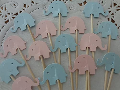 Amazon Com Light Pink And Light Blue Elephant Cupcake Toppers