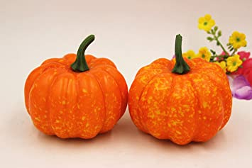 35 artificial fall harvest plastic mini pumpkins halloween house decoration set of 8 - Plastic Pumpkins