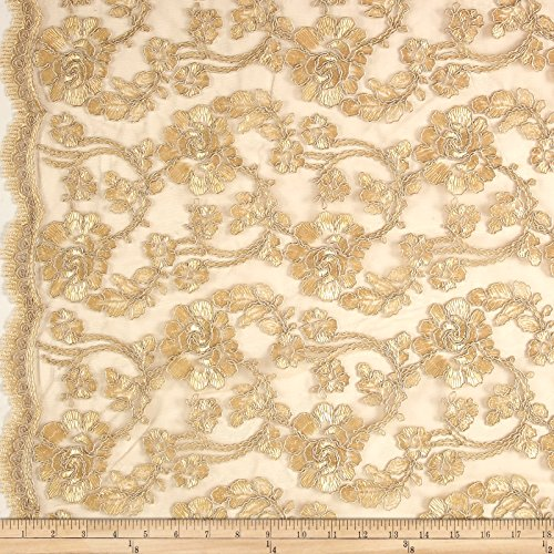 Unique Quality Fabrics Starlight Mesh Lace Rosedale Fabric by The Yard, Antique