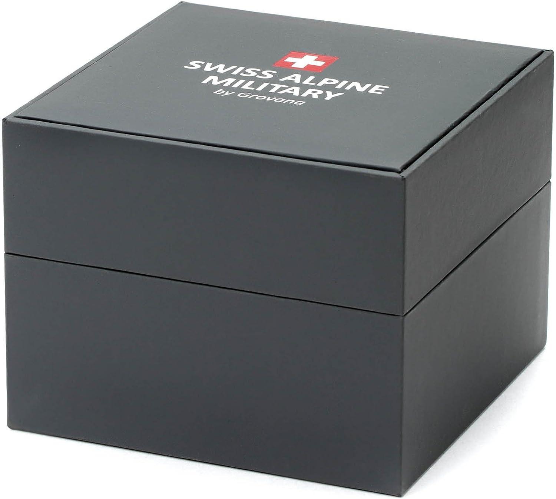 Montre chronographe Grovana - Swiss Alpine Military - Pour homme - Avec bracelet en silicone - 10 ATM Black/Grau - 9878sam