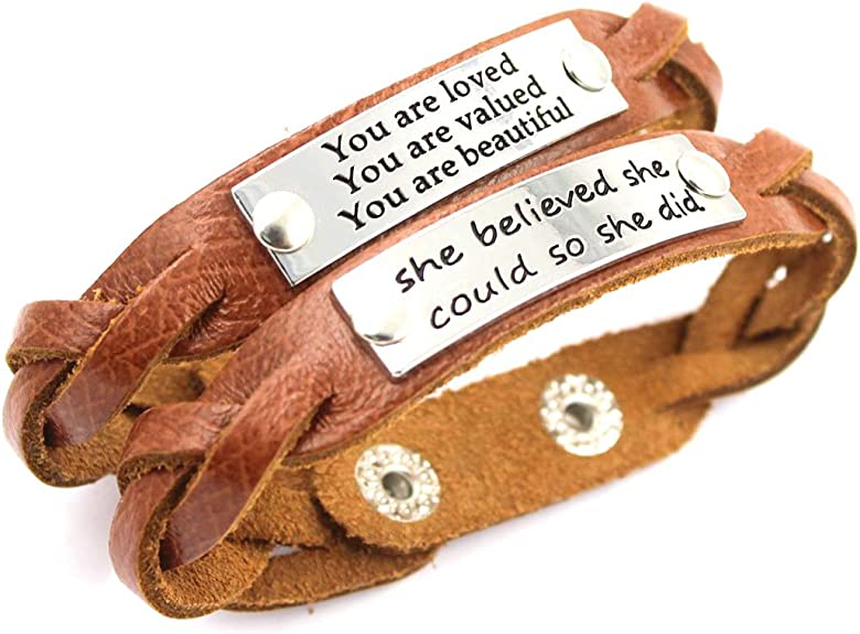 YOYONY 9 PCS Pack Adjustable Leather Strap Engraved Message Meaningful Inspirational Bracelets,Gifts Set for Women//Men//Members.
