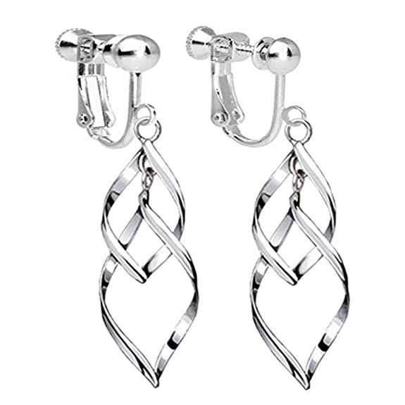 Amazon.com: Clip On Earrings Twist Waver Drop Earrings Dangle Silver Tone Plated Proms Gift: Jewelry