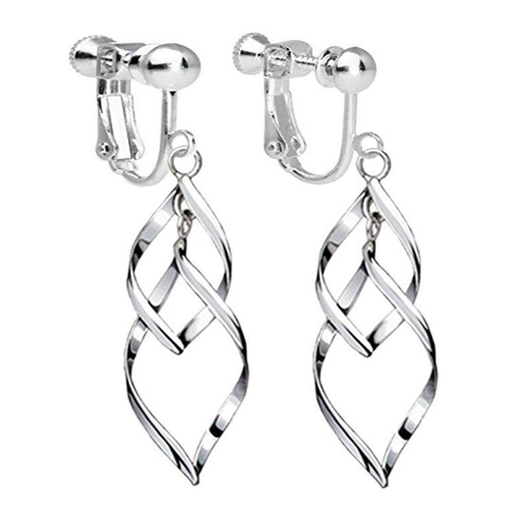 Clip On Earrings Twist Waver Drop Earrings Dangle Silver Tone Plated Proms Gift