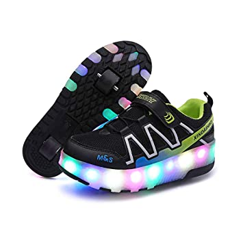 DanNN Los niños Luminosos de Doble Rueda Patines de Rodillos LED Intermitente Colorido Fitness Zapatos Skateboard