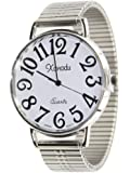 Super Large Face Stretch Band Easy to Read Watch-Silver Tone