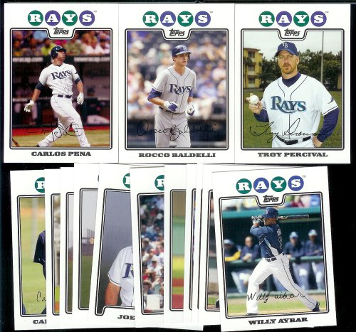 2008 Topps Tampa Bay Rays Series 1&2 Baseball Cards Complete Team Set of 21 cards including B.J. Upton, Carlos Pena, Delmon Young, Akinori Iwamura and more - Game Pena Carlos