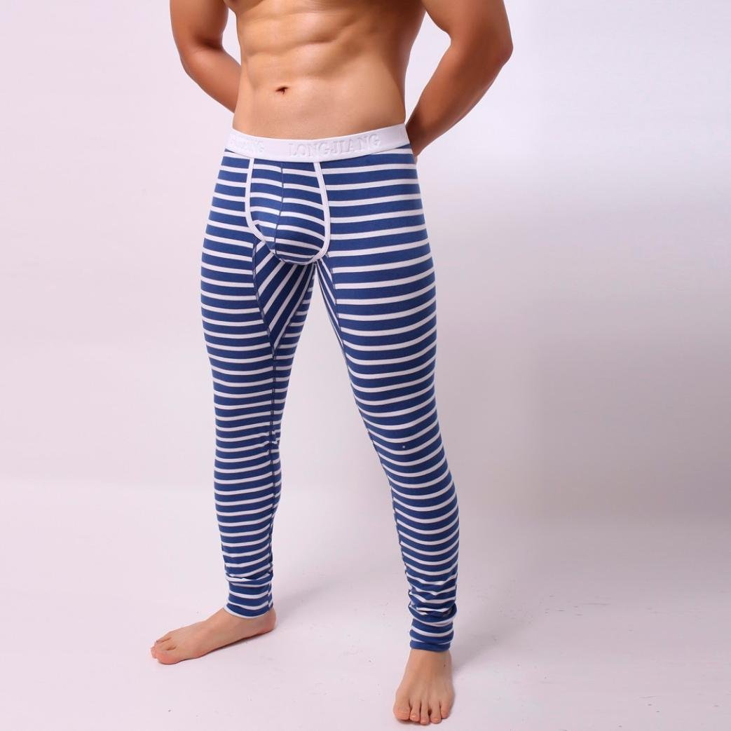 Starxin Mens Fashion Striped Breathe Patchwork Low Rise Leggings Long Johns Thermal Pant (Blue, L) at Amazon Mens Clothing store: