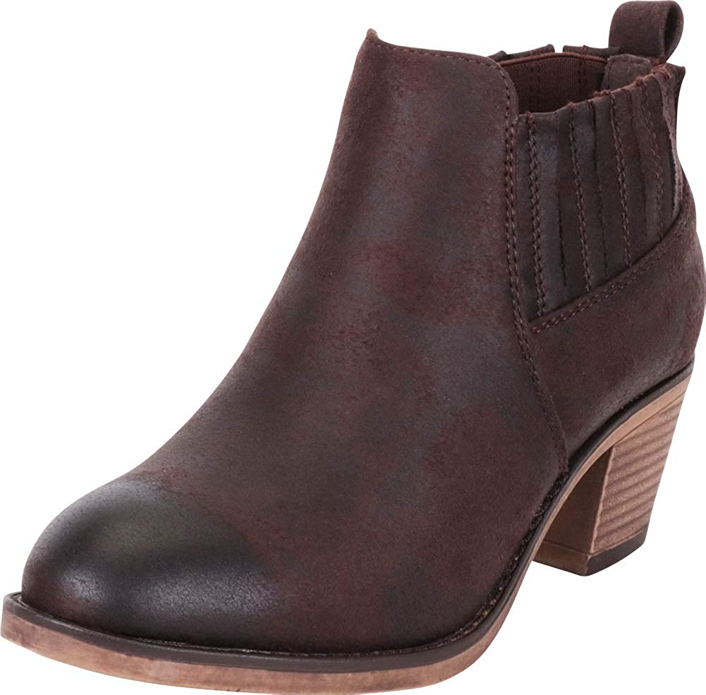 Brown Pu Cambridge Select Women's Western Distressed Stretch Chunky Stacked Heel Ankle Bootie