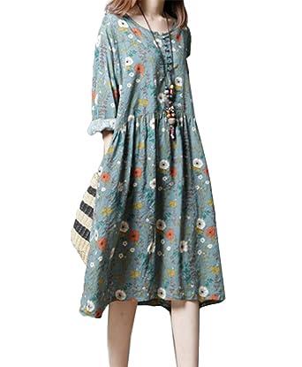 5e19d4c67c627 イン二ファー)Innifer レディース 綿 ワンピース ドレス 花柄 満開式 フレアワンピース