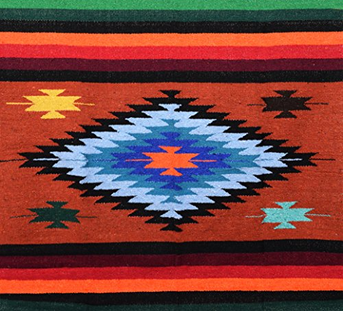 Red Earth Mexican Yoga Blanket, Navajo Aztec Diamond XL