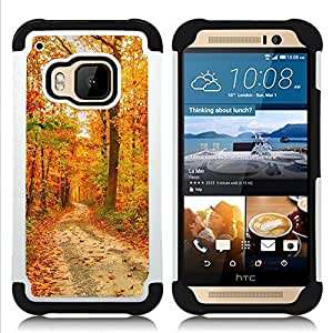 - Road wood - - Fulland Deluxe Hybrid TUFF Rugged Shockproof Rubber + Hard Case Cover FOR HTC One M9 Queen Pattern