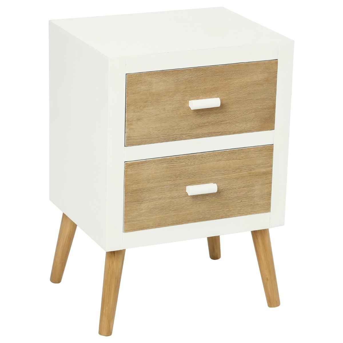 meuble de chevet 2 tiroirs esprit scandinave coloris bois et blanc amazonfr cuisine maison