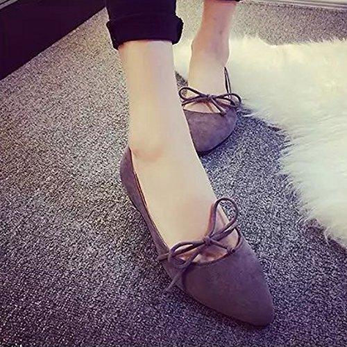 Flach und flach Mund spitz flach mit Casual Damen Schuhe, schwarz, 39 grau