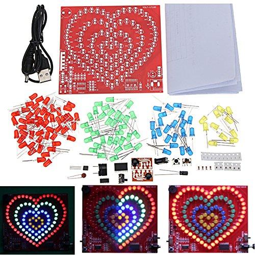 MYAMIA Heart Shaped 4 Circle Love Diy Led Flash Kit Electronic Production Training Soldering Kit