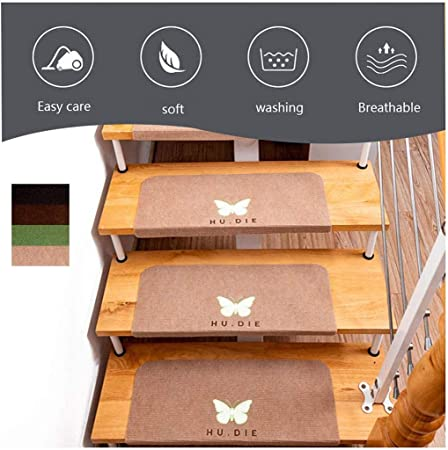 Carpet Stair Alfombras para escaleras,tapetes de Alfombra | Almohadillas de Escalera de 15 Piezas, Alfombra Adhesiva Antideslizante/Alfombra para peldaños de Escalera, 55 * 22 * 4.5CM,Beige-L: Amazon.es: Hogar