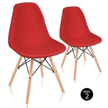 Mc Haus Sena ROJA Pack de Sillas de Comedor de Diseño Nórdico, Haya y Polipropileno, Rojo, 51x46x82 cm, 2 Unidades