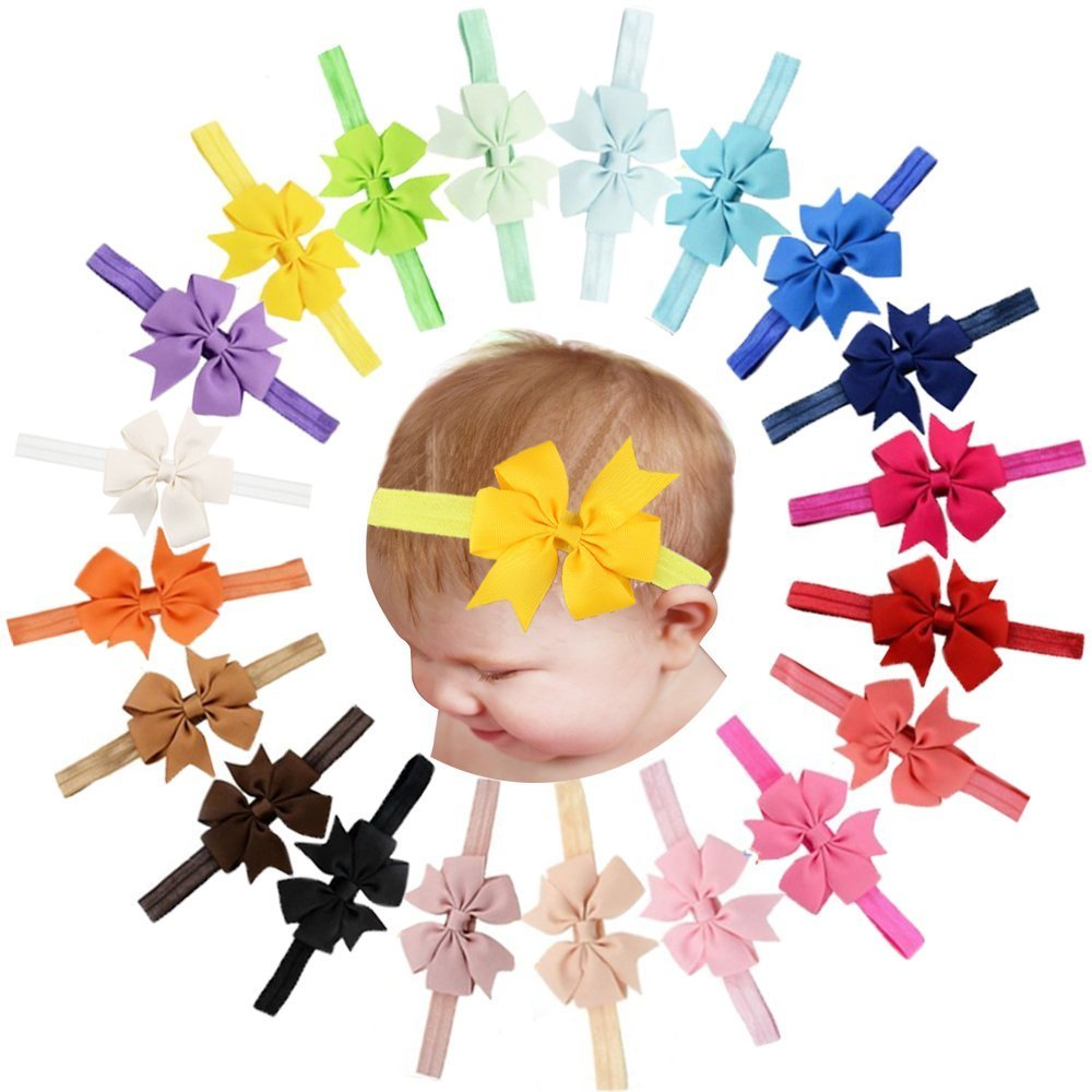 Lot de 20 bandeaux pour cheveux et nœud pour bébé, filles, ruban gros-grain MyLot