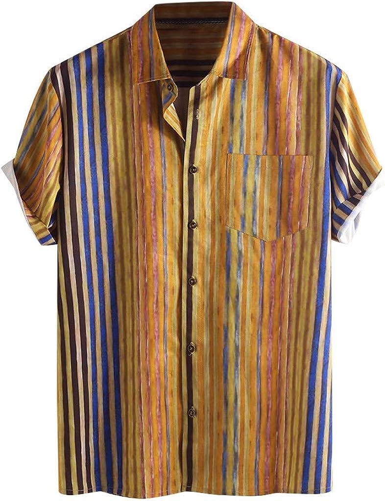 LEKODE Men T-Shirt Fashion Stripe Printed Pocket Leisure Lapel Blouse