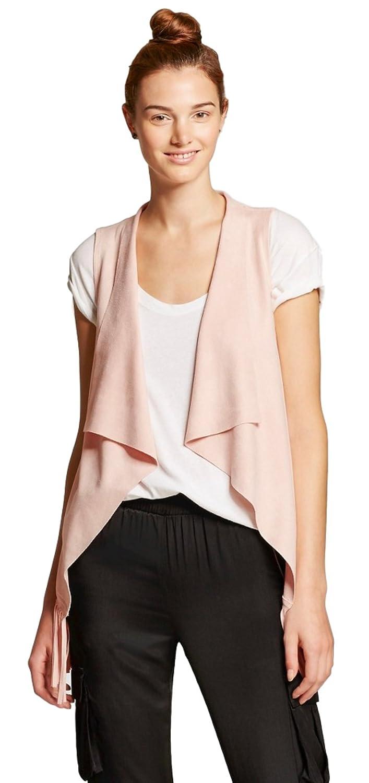 a4345db2486f3d Bagatelle City Women s Faux Suede Sleeveless Fringe Drape Vest at Amazon Women s  Clothing store