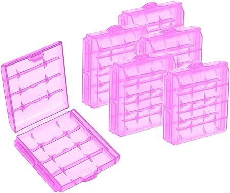 com-four® 6X Caja de Pilas de Plástico - Caja de Almacenamiento para Pilas, Baterías y Acumuladores Recargables - Funda para Pilas AA y AAA (06 Piezas - Púrpura): Amazon.es: Hogar