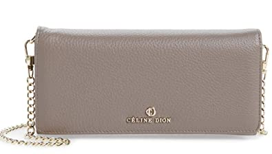 3f1b5cb05850 Image Unavailable. Image not available for. Color  CELINE DION Adagio Taupe  Leather Crossbody Wallet