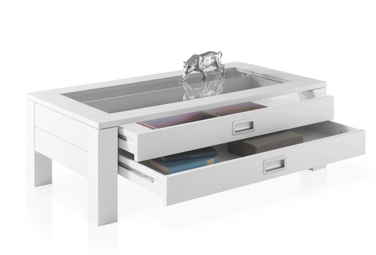 moebel-dich-auf Couchtisch Vitrinentisch Tisch Fabian Weiss dekor, Tischplatte inkl. Klarglaseinlage, 2 Schubkästen