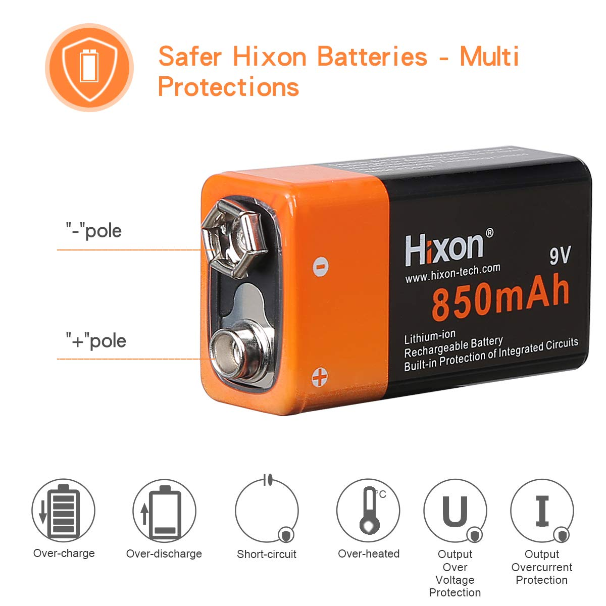 Hixon 9V 850mAh Rechargeable Li-ion Battery for Smoke Detector Multimeter Alarm System