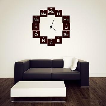 Química Geeks reloj con adhesivo decorativo para pared fondo, negro, Small: 45cm x