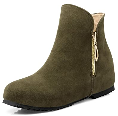 Women's Trendy Faux Suede Round Toe Side Zipper Booties Heighten Inside Flats Short Ankle Boots Shoes