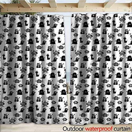 warmfamily Alien Outdoor Door Curtain Monochrome Monster Silhouettes Childish Drawings of Otherworldly Beings Halloween W120 x L96 Black White ()
