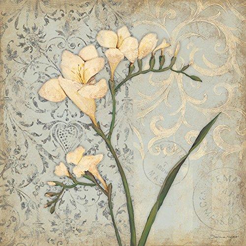 (White Freesia 12x12 Garden Flowers Decorative Framed Art Print)