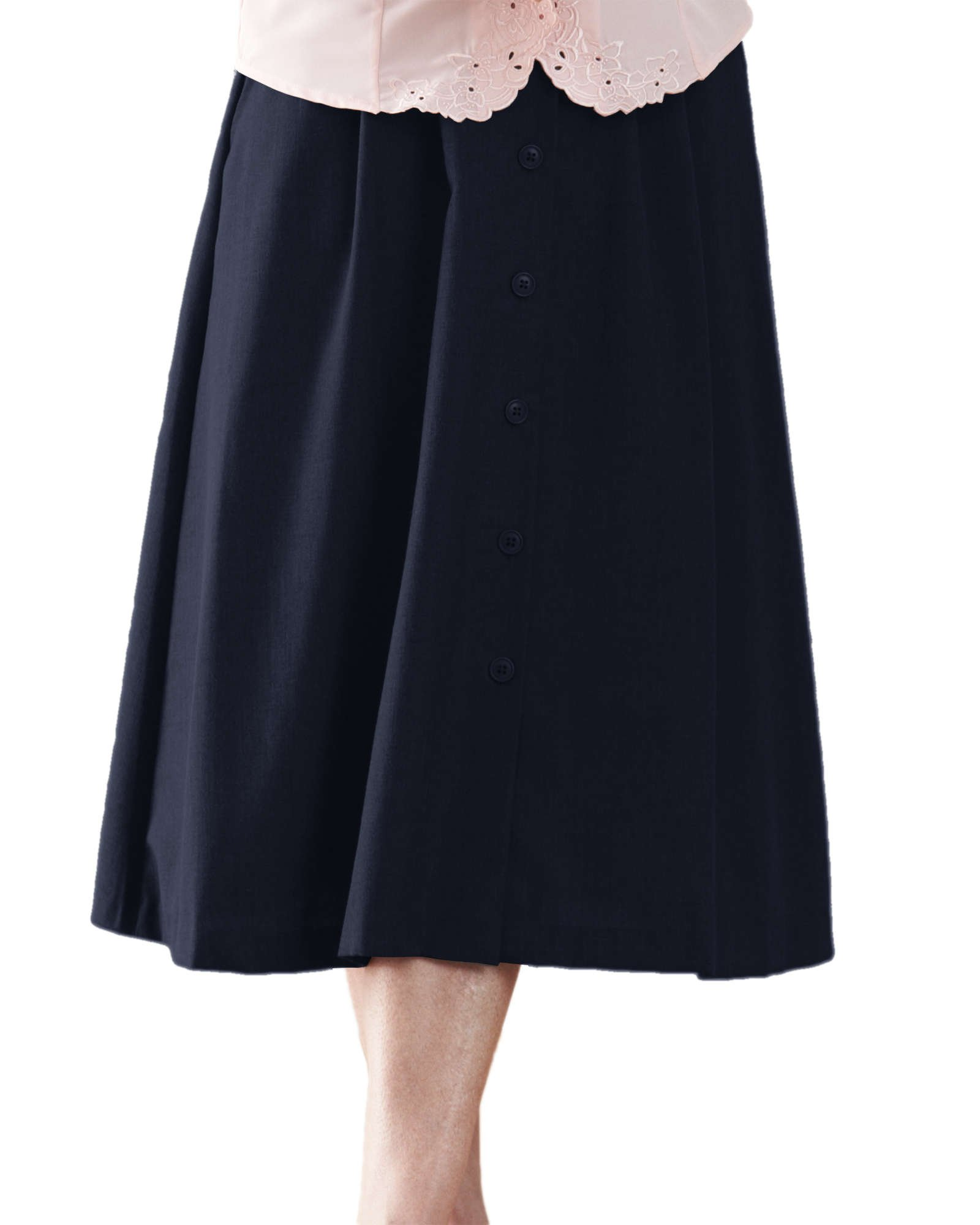 Swann Button Front Pleated Skirt, Navy, 18P