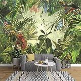 NXMRN Papier peint Feuille de banane de la forêt tropicale peinte à la main Photo Chambre à coucher Salon TV Mur de fond Mural 3D non tissé 300cmx210cm