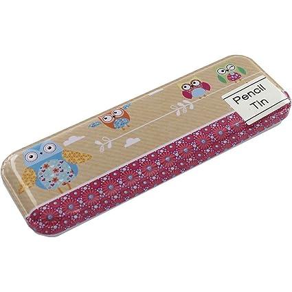 Amazon.com : Owls Pencil Case Tin - Size 8