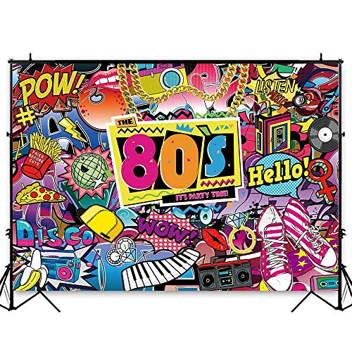 Funnytree 7x5ft Hip Pop 80s Themed Party Backdrop Graffiti Back to 80's Photography Background Rock Punk Music Disco Retro Baby Adult Birthday Banner Cake Table Decorations Photo Booth Props]()
