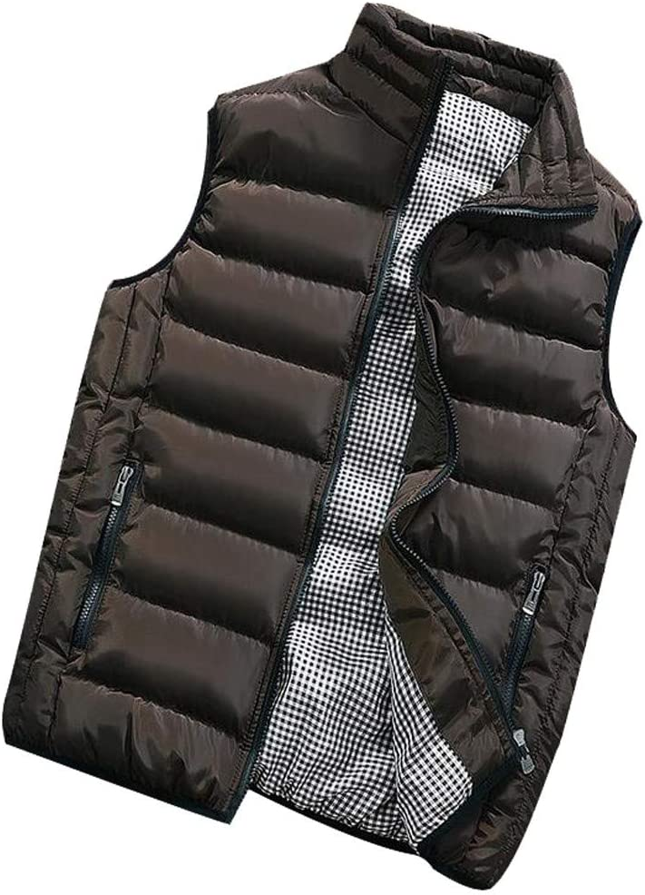 YKARITIANNA Men Solid Quilted Vests Autumn Winter Coat Padded Cotton Vest Warm Hooded Thick Vest Jacket Comfy Swaggy Tops